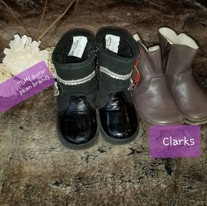2 pairs toddler girl boots genuine leather size 22